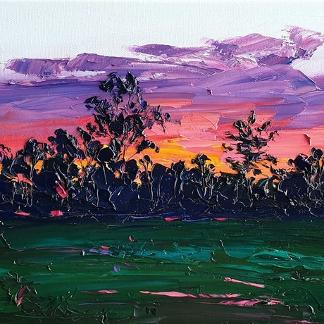 (CreativeWork) Dusk At The Dog Park  by Angela Hawkey. Oil Paint. Shop online at Bluethumb.