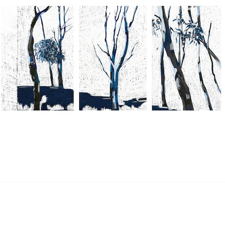 (CreativeWork) Walk with The Moon (triptych)  by Gina fynearts. Resin. Shop online at Bluethumb.