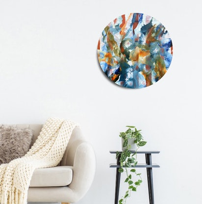 (CreativeWork) Bio-Sphere Evolution Revolution - Abstract Round Painting by Jacquelyn Stephens. Acrylic Paint. Shop online at Bluethumb.