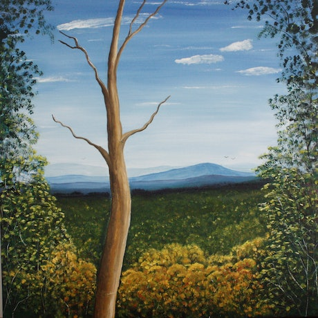 (CreativeWork) The View from Here  by Corinne Young. Oil Paint. Shop online at Bluethumb.