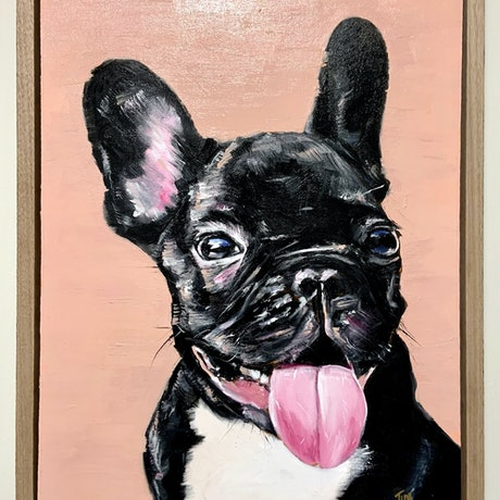 (CreativeWork) Frenchie by Tim Christinat. Oil Paint. Shop online at Bluethumb.