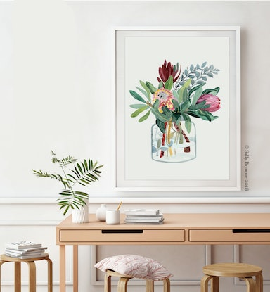 (CreativeWork) Proteas in Glass Jar 2018 Ed. 5 of 100 by Sally Browne. Print. Shop online at Bluethumb.