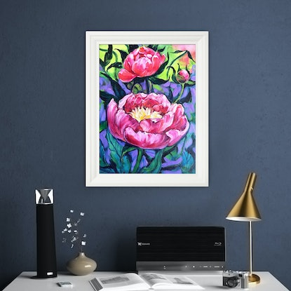 (CreativeWork) Peonies – framed original oil painting by Irina Redine. Oil Paint. Shop online at Bluethumb.