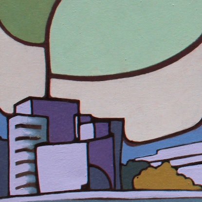 (CreativeWork) Reclining City - Brisbane 2006 by Laing Rahner. Acrylic Paint. Shop online at Bluethumb.