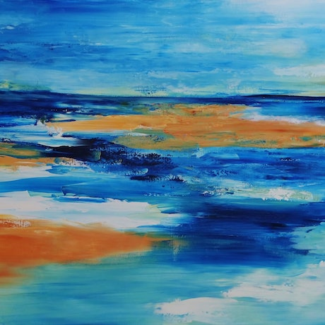 (CreativeWork) Sunny Days Ahead by Clare Riddington Jones. Acrylic Paint. Shop online at Bluethumb.