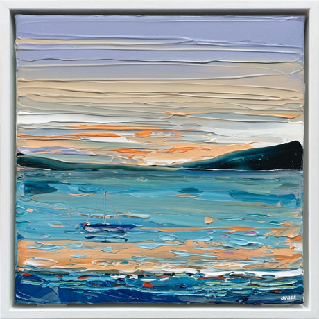 (CreativeWork) Sunset Sail - Framed by Joseph Villanueva. Acrylic Paint. Shop online at Bluethumb.