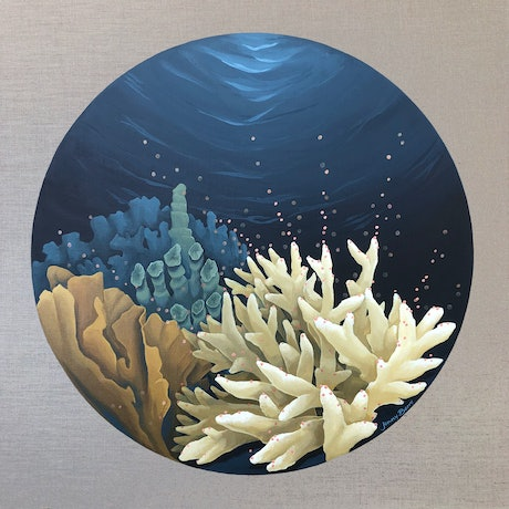 (CreativeWork) Spawning in the Moonlight - Underwater Seascape of Coral by Jenny Berry. Acrylic Paint. Shop online at Bluethumb.