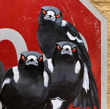 (CreativeWork) ' City Feathers 2' by Karen Farmer. Acrylic Paint. Shop online at Bluethumb.