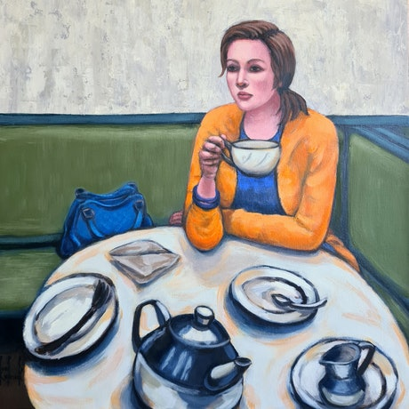 (CreativeWork) Me Time - Tea  Time - People - Cafe by Olga Kolesnik. Acrylic Paint. Shop online at Bluethumb.
