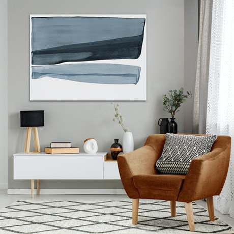 (CreativeWork) Aaltor - large blue grey abstract by Stephanie Laine. Acrylic Paint. Shop online at Bluethumb.