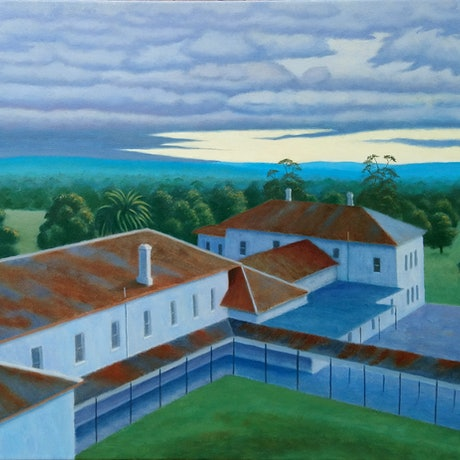 (CreativeWork) Winter At Aradale by Geoff Harrison. Oil Paint. Shop online at Bluethumb.