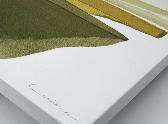 (CreativeWork) Knoll - mustard olive abstract by Stephanie Laine. Acrylic Paint. Shop online at Bluethumb.