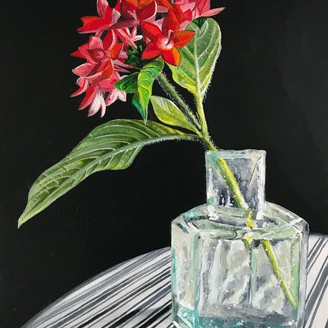 (CreativeWork) Little Red Flowers by Melissa Hartley. Acrylic Paint. Shop online at Bluethumb.