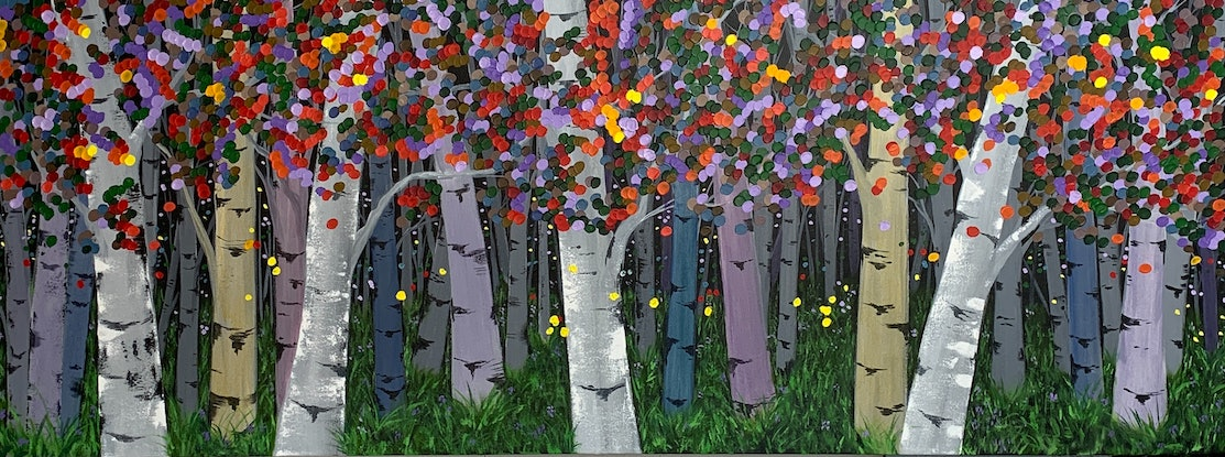 (CreativeWork) Birch Time by Tom Roso. Acrylic Paint. Shop online at Bluethumb.