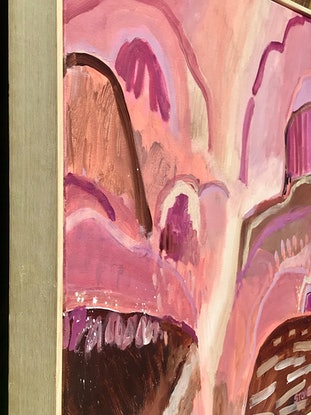 (CreativeWork) PLUM FALLS   - FRAMED ABSTRACT LANDSCAPE  by Belinda Stone. Acrylic Paint. Shop online at Bluethumb.