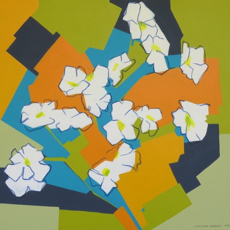 (CreativeWork) Floral Calculus by Samantha Coronel. Acrylic Paint. Shop online at Bluethumb.