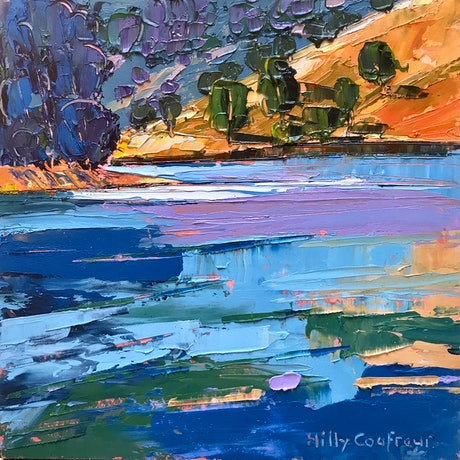 (CreativeWork) Summer on the Lake 6 by Hilly Coufreur. Oil Paint. Shop online at Bluethumb.
