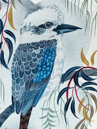 (CreativeWork) Kookaburra Amongst the Gums 2020 by Sally Browne. Watercolour Paint. Shop online at Bluethumb.
