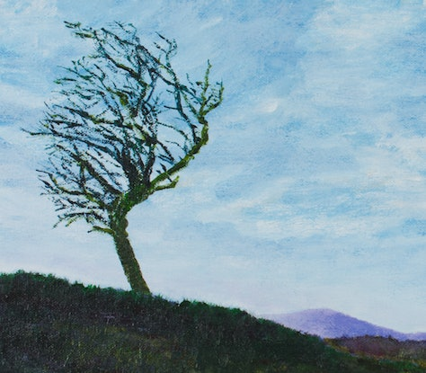 (CreativeWork) Lone tree by Paul Burman. Acrylic Paint. Shop online at Bluethumb.