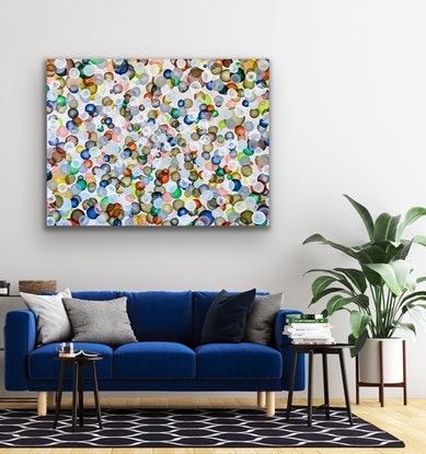 (CreativeWork) Bio Life Field – Large Abstract Painting by Jacquelyn Stephens. Acrylic Paint. Shop online at Bluethumb.