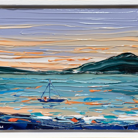 (CreativeWork) Sunset Sail 2 - Framed by Joseph Villanueva. Acrylic Paint. Shop online at Bluethumb.