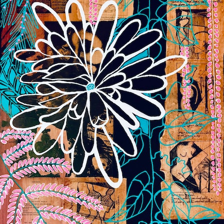 (CreativeWork) CHRYSANTHEMUM FLOWERS FOR DAD by Astrid Dahl. Mixed Media. Shop online at Bluethumb.