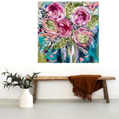 (CreativeWork) King protea , peony and banksia  by Amanda Brooks. Acrylic Paint. Shop online at Bluethumb.