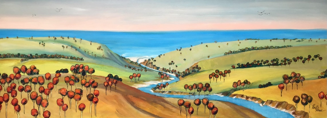 (CreativeWork) Abstract Landscape  by Ron Brown. Acrylic Paint. Shop online at Bluethumb.