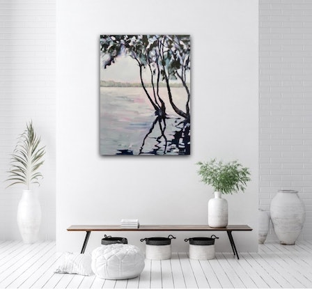 (CreativeWork) Lake Ainsworth  by Meredith Howse. Acrylic Paint. Shop online at Bluethumb.