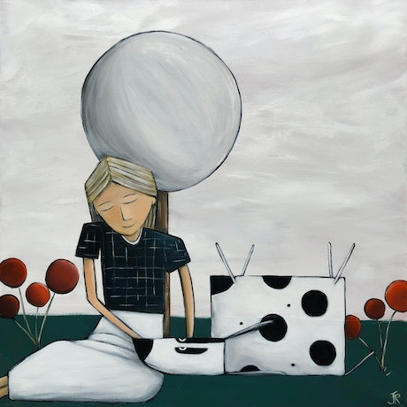 (CreativeWork) Girl with Dog #2 by Julie Robertson. Acrylic Paint. Shop online at Bluethumb.