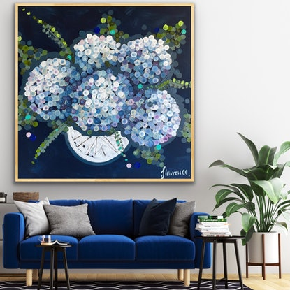 (CreativeWork) Hydrangeas for mum 106x106 framed large abstract by Sophie Lawrence. Acrylic Paint. Shop online at Bluethumb.