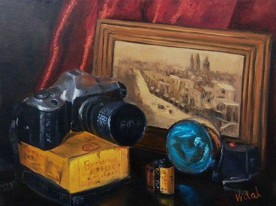 (CreativeWork) Vintage memories, old photographic equipment - still life  by Christopher Vidal. Oil Paint. Shop online at Bluethumb.