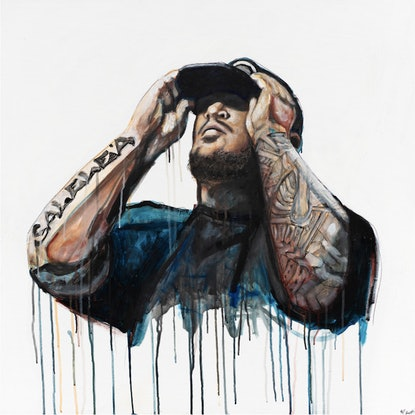 Graffiti and realist style Portrait of a man with tattoos wearing a cap and dark shirt on a white background.