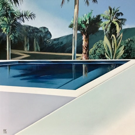 (CreativeWork) Paradise Pool by Geoff Coleman. Acrylic Paint. Shop online at Bluethumb.