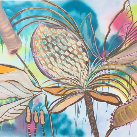 """(CreativeWork) """"Dragonfly bliss """" by Connie krol ART. Acrylic Paint. Shop online at Bluethumb."""