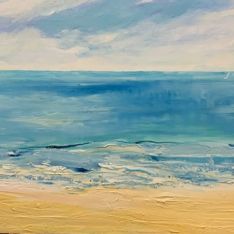(CreativeWork) Narrabeen by Liz Muir. Oil Paint. Shop online at Bluethumb.