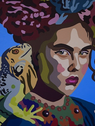 (CreativeWork) I am the Lizard Queen by Emily Provan. Acrylic. Shop online at Bluethumb.