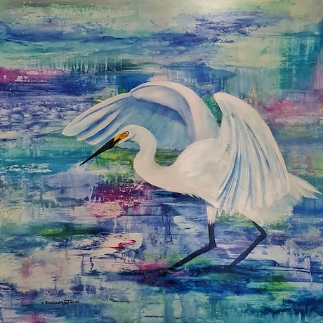 (CreativeWork) Little Egret Fishing by Clare Riddington Jones. Acrylic Paint. Shop online at Bluethumb.