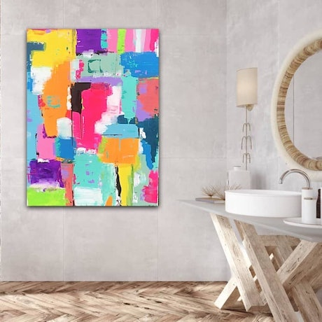 """(CreativeWork) """" A life of colour"""" by Connie krol ART. Acrylic Paint. Shop online at Bluethumb."""