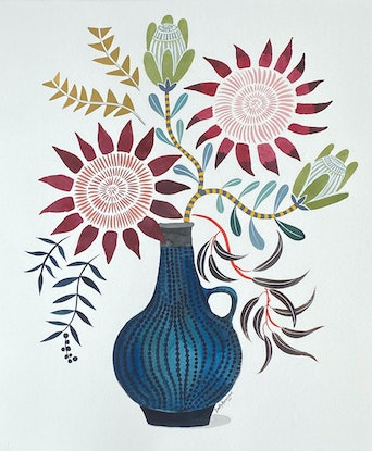 (CreativeWork) King Protea in Retro Vase 2020 by Sally Browne. Watercolour Paint. Shop online at Bluethumb.
