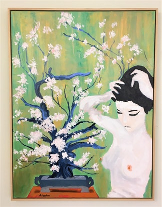 (CreativeWork) Nude with Bonsai framed by Joy Collection. Acrylic Paint. Shop online at Bluethumb.