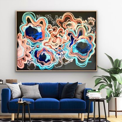 (CreativeWork) Love For Life - Abstract Flowers Extra Large 155 x 108 cm (blue and earth tones) by Jen Shewring. Acrylic Paint. Shop online at Bluethumb.