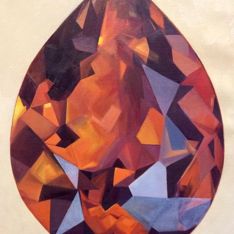Rustic colours, orange, browns and some purple oil painting of the gem citrine sitting singularly in the centre of the canvas, light background.