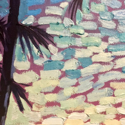(CreativeWork) Main Beach Mornings by Michael Baker. Oil Paint. Shop online at Bluethumb.