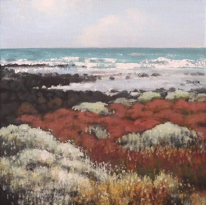 (CreativeWork) Shoreline With Sea Lavender by Stella Clarke. Acrylic Paint. Shop online at Bluethumb.