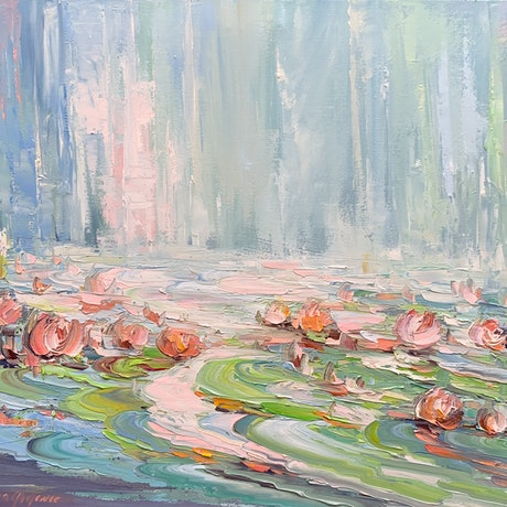(CreativeWork) Water lilies No 45 by Liliana Gigovic. Oil Paint. Shop online at Bluethumb.