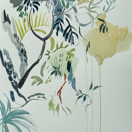 (CreativeWork) Holiday Gardens #2 - 2021  by Sally Browne. Watercolour Paint. Shop online at Bluethumb.