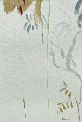 (CreativeWork) Holiday Gardens #3 - 2021 by Sally Browne. Watercolour Paint. Shop online at Bluethumb.