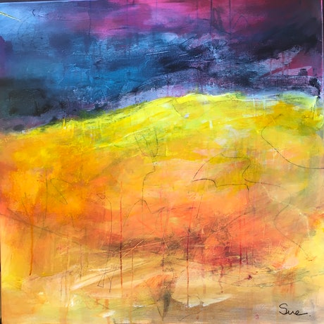 (CreativeWork) Summer Hills - Waiting for the Rains by sue carter. Mixed Media. Shop online at Bluethumb.