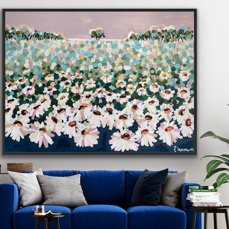 (CreativeWork) Daisy 126x96 framed large abstract landscape by Sophie Lawrence. Acrylic Paint. Shop online at Bluethumb.